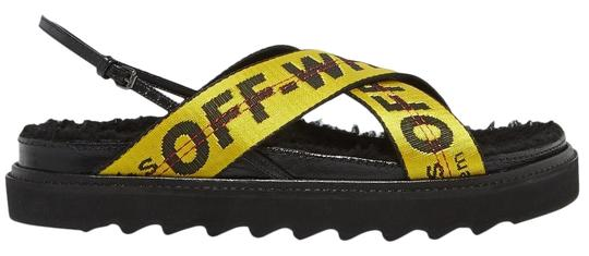 Preload https://img-static.tradesy.com/item/25727031/off-whitetm-off-white-yellow-and-black-shearling-canvas-patent-leather-sandals-size-eu-38-approx-us-0-1-540-540.jpg
