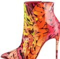 Christian Louboutin Monogram Stiletto Pointed Toe Leather Red pink multicolor Boots