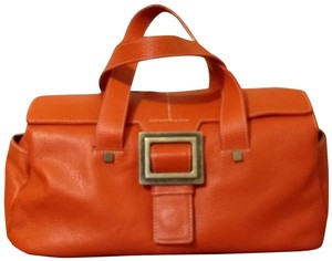 Adrienne Vittadini Leather Buckle Compartmented Pebbled Leather Shoulder Bag