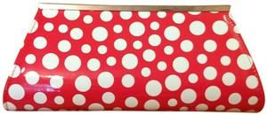 Neiman Marcus Polka Dot Silver Chain pink and white Clutch
