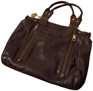 Via Spiga Leather Zippers Shoulder Bag