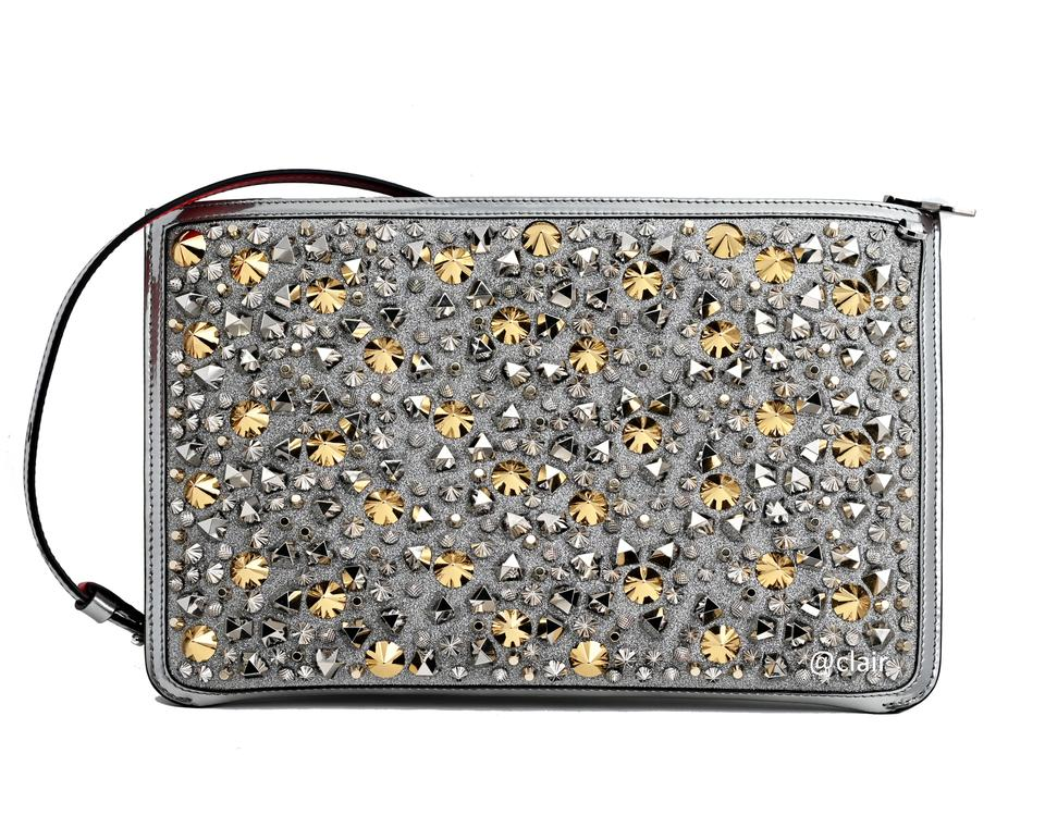 468cc17e291 Christian Louboutin Clutch Loubiclutch Studded Glitter Clutch/ Silver Multi  Leather Cross Body Bag 14% off retail