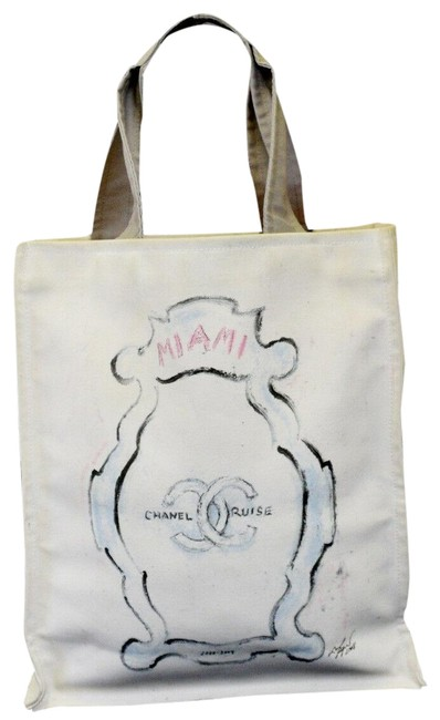 Item - Shoulder Bag Cc Logos Leather Italy White Canvas Tote