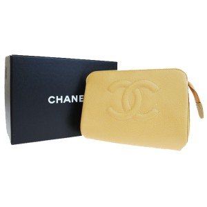Chanel CHANEL CC Cosmetic Mini Pouch Hand Bag Caviar Skin Leather Beige