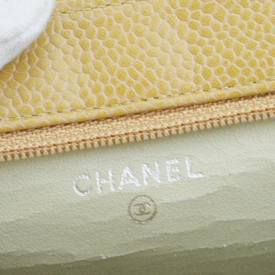 Chanel CHANEL CC Cosmetic Mini Pouch Hand Bag Caviar Skin Leather Beige Image 9