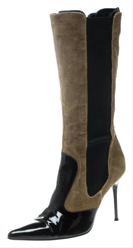 04c51d239d7 Dolce&Gabbana Black Black/Khaki Green Patent Leather and Corduroy Pointed  Toe Boots/Booties Size EU 39 (Approx. US 9) Regular (M, B)