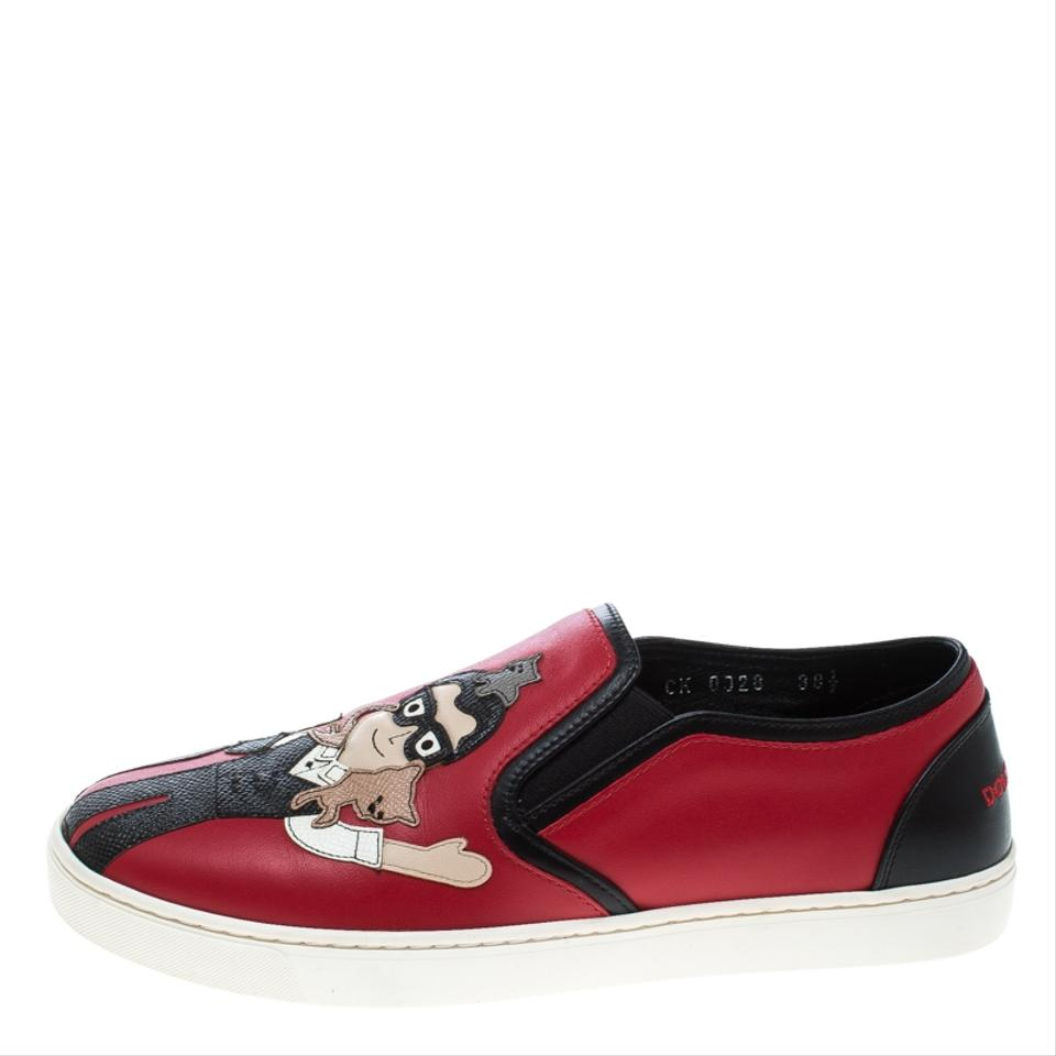 Dolce&Gabbana Red Leather Applique Detail Slip On Sneakers Flats Size EU 38.5 (Approx. US 8.5) Regular (M, B)