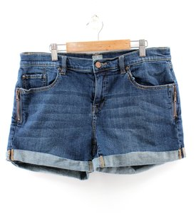 New York & Company Jean Mid Rise Roll Hem Denim Mini/Short Shorts Blue
