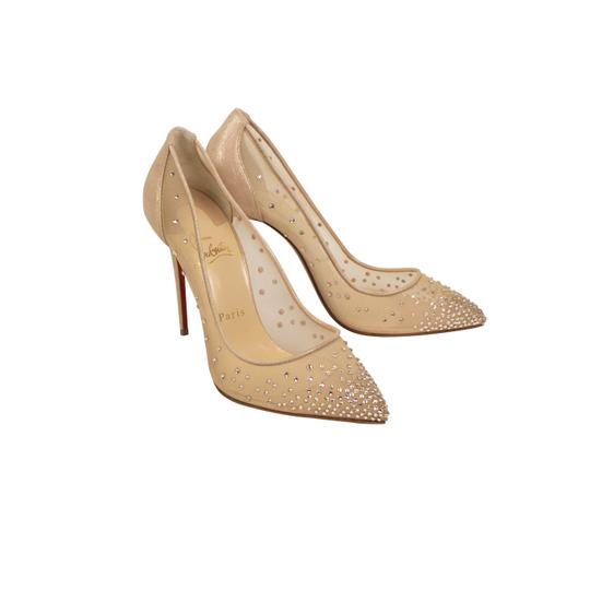 Christian Louboutin Mesh Pointed Toe Crystal Studded Leather Beige Pumps Image 1