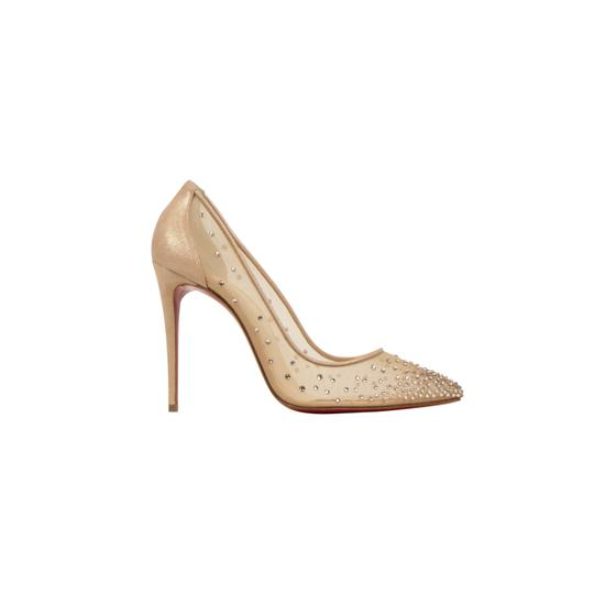 Christian Louboutin Mesh Pointed Toe Crystal Studded Leather Beige Pumps Image 2