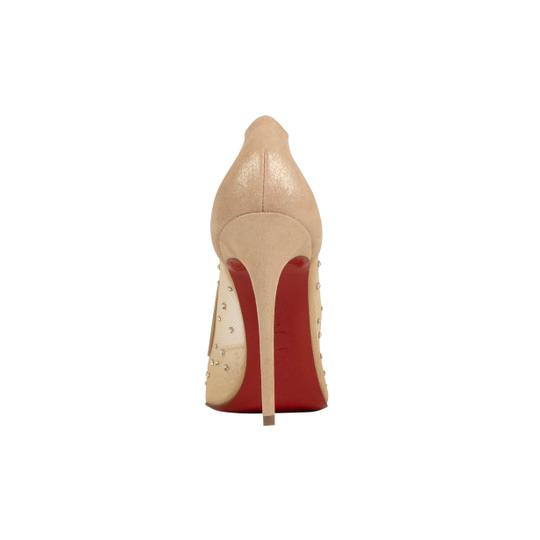 Christian Louboutin Mesh Pointed Toe Crystal Studded Leather Beige Pumps Image 3