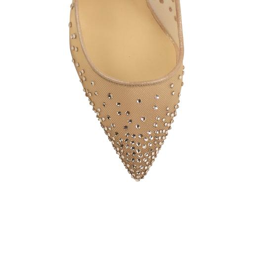Christian Louboutin Mesh Pointed Toe Crystal Studded Leather Beige Pumps Image 4