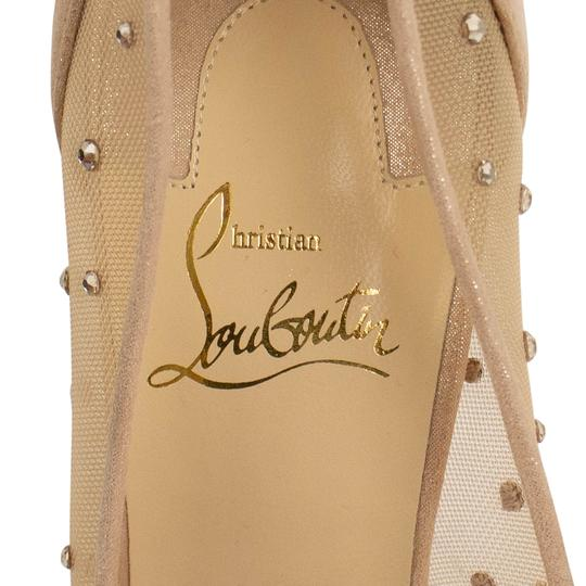 Christian Louboutin Mesh Pointed Toe Crystal Studded Leather Beige Pumps Image 5