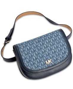 Michael Kors Michael Kors Signature Denim and Leather Fanny Pack Size L/XL Blue