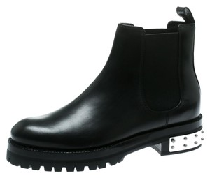 Alexander McQueen Leather Studded Ankle Rubber Black Boots
