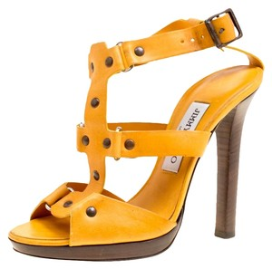 Jimmy Choo Studded Leather Yellow Sandals