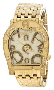 Etienne Aigner Yellow Mother of Pearl Gold Plated Steel Ravenna Nuovo A25100 Women's
