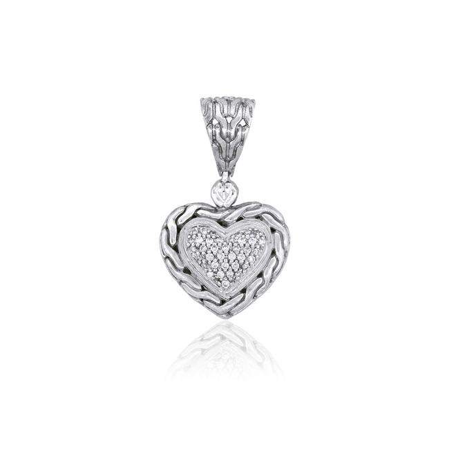 Item - White Silver Sterling Diamond Heart Shaped Pendant