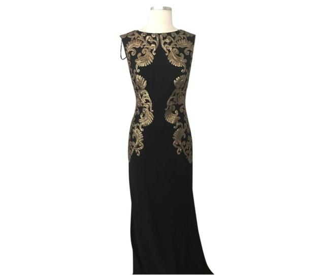 Item - Black Gold New Neoprene Sequined Embroidered Lace Formal Dress Size 4 (S)
