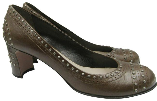 Item - Brown Classic Heels 8.5 Leather Matte Silver Studded Pumps Size EU 38.5 (Approx. US 8.5) Regular (M, B)