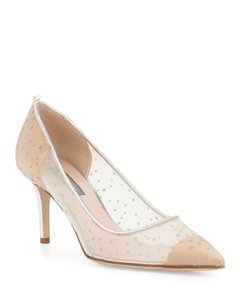 SJP by Sarah Jessica Parker Pump Mesh Glitter Dots Mid Heels Pointed Toe Bronze/Silver Formal