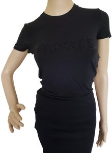 Versace Logo Embroidered Sequin Baroque Medusa Top Black
