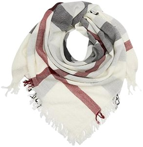 Burberry Burberry Large Check Merino Wool Scarf Ivory Check