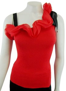 Valentino Ruffle Bow Cotton Knit One Shoulder Top red