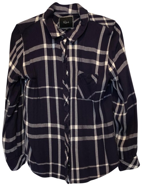 Item - Blue Plaid Shirt Button-down Top Size 8 (M)