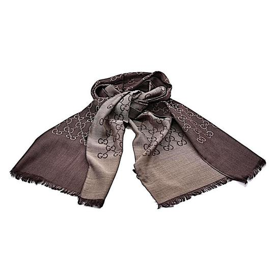 Gucci Brown. Rope 165904 Gg Signature Silk Wool Scarf/Wrap Image 1
