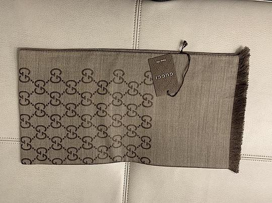 Gucci Brown. Rope 165904 Gg Signature Silk Wool Scarf/Wrap Image 3