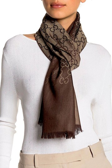 Gucci Brown. Rope 165904 Gg Signature Silk Wool Scarf/Wrap Image 5