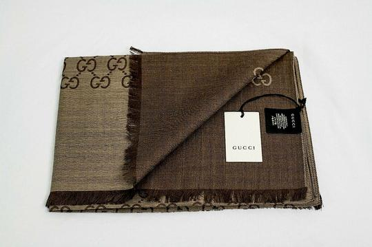 Gucci Brown. Rope 165904 Gg Signature Silk Wool Scarf/Wrap Image 6