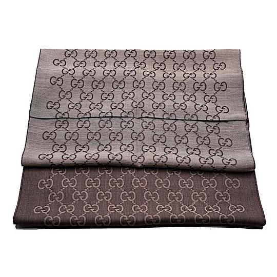 Gucci Brown. Rope 165904 Gg Signature Silk Wool Scarf/Wrap Image 8