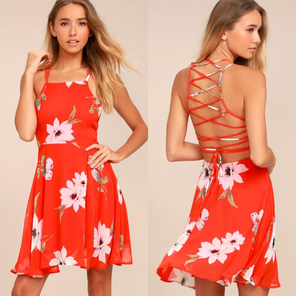 Lulus Orange Happy Together Coral Floral Lace Up Short Cocktail Dress Size 2 Xs 57 Off Retail