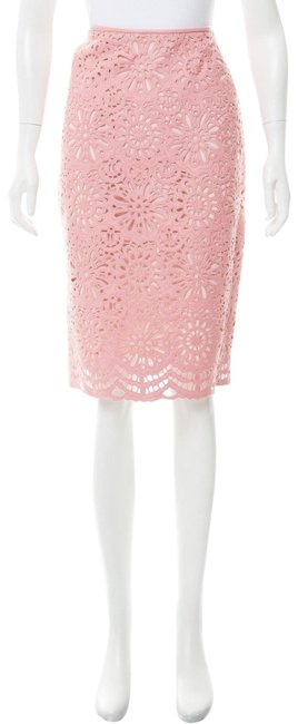 Item - Pink Guipure Lace Leather-accented Skirt Size 8 (M, 29, 30)
