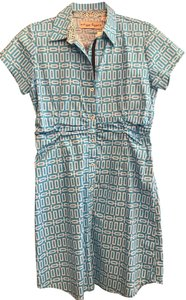 Dizzy Lizzie short dress Teal Blue/White Hamptons Cotton India Lightweight on Tradesy