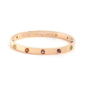 Cartier Multicolor Gems 18k Rose Gold Love Bangle Bracelet Size 17 Paper