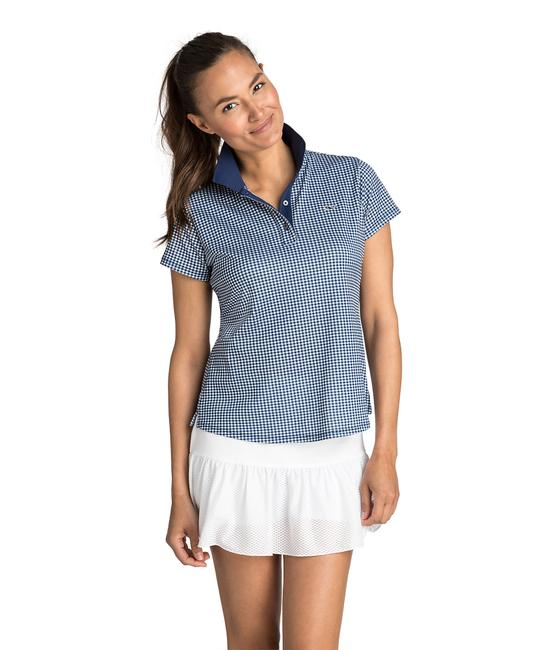 Item - Deep Bay Gingham Printed Pique Polo Activewear Top Size 2 (XS, 26)