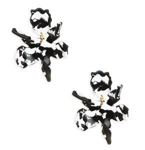 Lele Sadoughi NEW Small Paper Lily Earrings in Black Marble