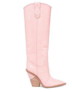 Fendi Slip On Croc Leather Block Heel pink Boots