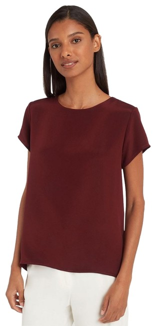"Item - Burgundy Silk Tee In Oxblood"" Blouse Size 4 (S)"