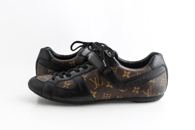 Item - Black Monogram Canvas and Leather Velcro Sneakers Shoes