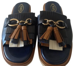 Tod's Tassels Gold Hardware Leather Chunky Navy, tan, white Mules