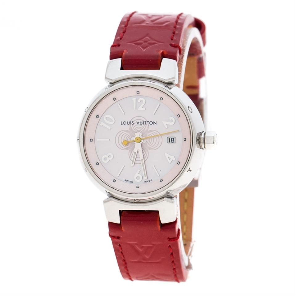 d3ccf680ec Louis Vuitton Red Mother Of Pearl Stainless Steel Tambour Q1216 Women's  Wristwatch 28 Mm Watch 26% off retail