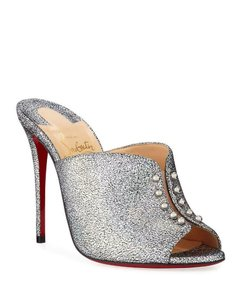 Christian Louboutin Heels Sandals Glitter Pvc Silver Mules