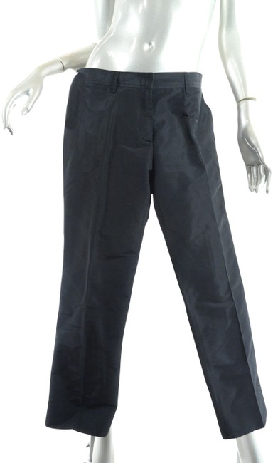 Item - Black Polyester Acetate Blend Faille Narrow Leg Crop Pants Size 6 (S, 28)