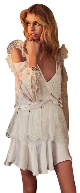 Item - White Sabina Layered Gold Barbell Mini Short Night Out Dress Size 12 (L)