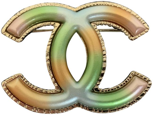 Chanel Gold Large Cc Logo Rainbow Multicolor Blue Green Tone Pin Brooch Chanel Gold Large Cc Logo Rainbow Multicolor Blue Green Tone Pin Brooch Image 1