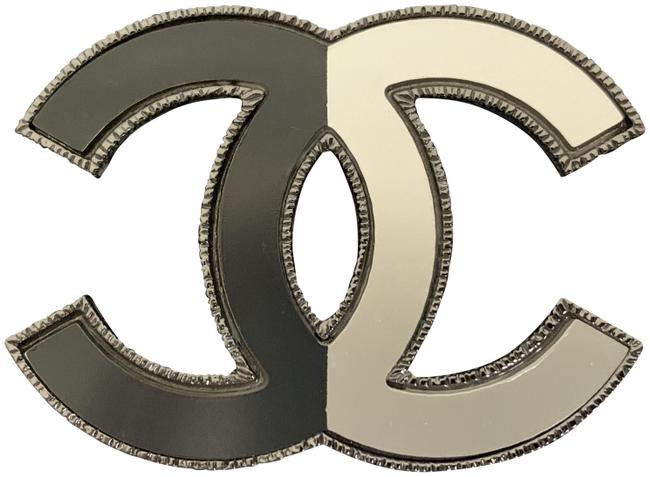 Item - Silver Large Cc Logo Two Tone Half & Half Ruthenium Tone Pin Brooch